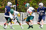Orange, CA 05/16/15 - Ben Ryan-Lorei (Dayton #21), Josh Fagan (Concordia #10), Patrick Ryan (Dayton #28) and Dillon Bernad (Concordia #8) in action during the 2015 MCLA Division II Championship game between Dayton and Concordia, at Chapman University in Orange, California.