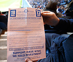 Fans in Ibrox stadium holding up blue cards in protest at the board and in support of Dave King