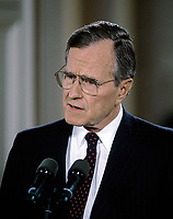 ***FILE PHOTO*** George H.W. Bush Has Passed Away<br /> Washington DC., USA, June 4, 1992<br /> President George H.W. Bush respondes to questions from reporters in the White House East Room in the second prime time news conference during his presidency.?He delivered a statement in support of a balanced budget amendment, and responded to questions on several topics <br /> CAP/MPI/MRN<br /> &copy;MRN/MPI/Capital Pictures