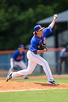 Kingsport Mets relief pitcher Taylor Henry (6) in action against the Greeneville Astros at Hunter Wright Stadium on July 7, 2015 in Kingsport, Tennessee.  The Mets defeated the Astros 6-4. (Brian Westerholt/Four Seam Images)
