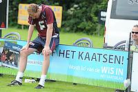 KAATSEN: HUIZUM: Kaatsvereniging O.G. (Onderling Genoegen) Huizum, 22-07-2012, Heren Hoofdklasse Vrije formatie, teleurstelling bij Gert-Anne van der Bos , ©foto Martin de Jong