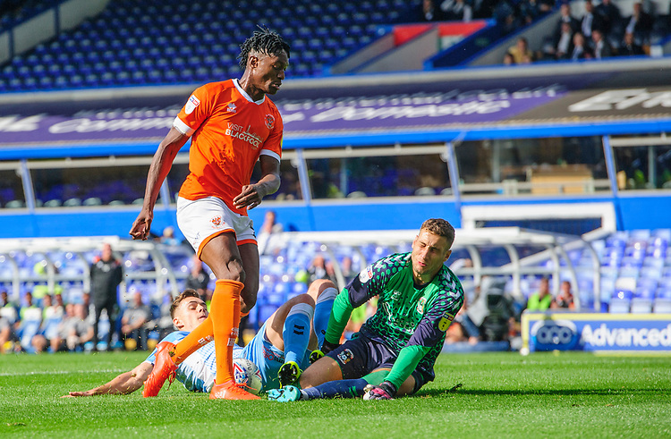 Blackpool's Armand Gnanduillet vies for possession with Coventry City's Michael Rose, left, and Coventry City's Marko Marosi<br /> <br /> Photographer Chris Vaughan/CameraSport<br /> <br /> The EFL Sky Bet League One - Coventry City v Blackpool - Saturday 7th September 2019 - St Andrew's - Birmingham<br /> <br /> World Copyright © 2019 CameraSport. All rights reserved. 43 Linden Ave. Countesthorpe. Leicester. England. LE8 5PG - Tel: +44 (0) 116 277 4147 - admin@camerasport.com - www.camerasport.com