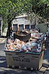 Caçamba de lixo e entulho em rua arborizada. São Paulo. 2007. Foto de Juca Martins,