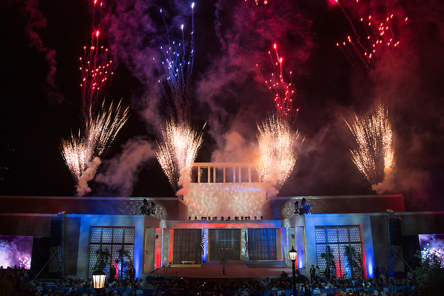 A firework display at the dedication of the George W. Bush presidential library on the campus of Southern Methodist University in Dallas.