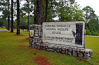Entrance sign to the Carolina Sandhills National Wildlife Refuge, in north central South Carolina.  Built as a Civilian Conservation Corps (CCC) project during the 1930's depression.