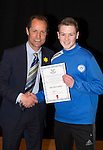 St Johnstone FC Academy Awards Night...06.04.15  Perth Concert Hall<br /> Alec Cleland presents a certificate to Keir McCauley<br /> Picture by Graeme Hart.<br /> Copyright Perthshire Picture Agency<br /> Tel: 01738 623350  Mobile: 07990 594431