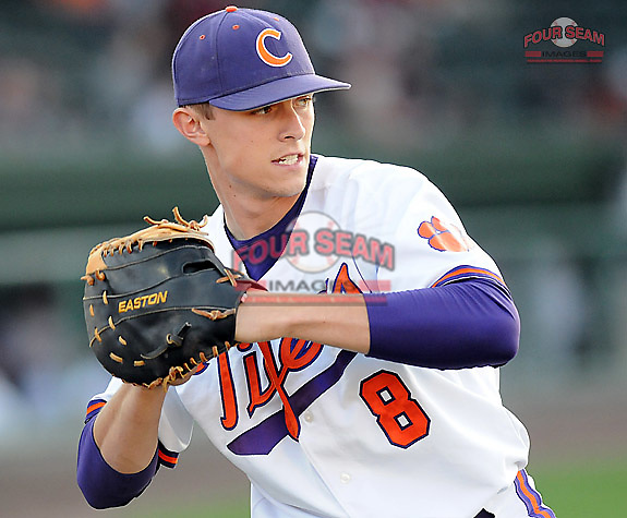 First baseman Richie Shaffer (8) of the Clemson Tigers in a game against the Presbyterian College Blue Hose on Wednesday, March 16, 2011, at Fluor Field in Greenville, S.C.  Photo by Tom Priddy / Four Seam Images