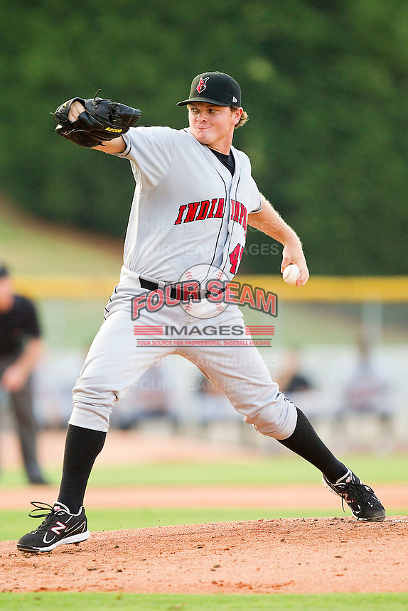 Starting pitcher Justin Wilson #45 of the Indianapolis Indians in action against the Charlotte Knights at Knights Stadium on July 26, 2011 in Fort Mill, South Carolina.  The Knights defeated the Indians 5-4.   (Brian Westerholt / Four Seam Images)