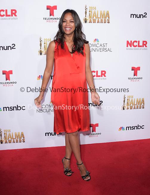 Zoe Saldana attends The 2014 NCLR Alma Awards held at The Pasadena Civic Center in Pasadena, California on October 10,2014                                                                               © 2014 Hollywood Press Agency