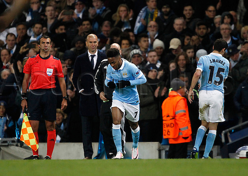 26.04.2016. The Etihad, Manchester, England. UEFA Champions League. Manchester City versus Real Madrid. Manchester City striker Raheem Sterling comes on as a late sunbstitute for Manchester City midfielder Jesús Navas.