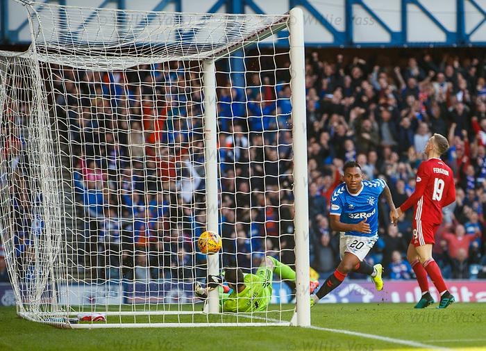 28.09.2018 Rangers v Aberdeen: Alfredo Morelos heads in the third goal fror Rangers past keeper Joe Lewis