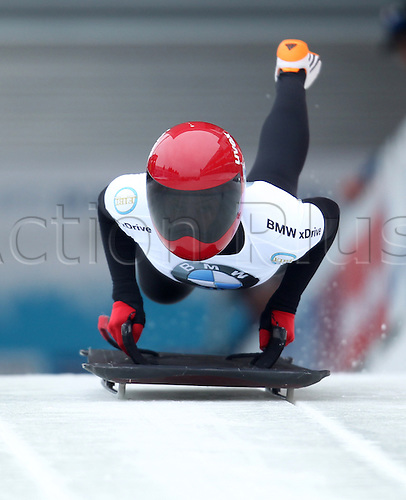 06.03.2015. Winterberg, Germany.  Skeleton racer Maria Montejano of Spain in action during the women's skeleton competition at the Bob & Skeleton World Championships 2015 in Winterberg, Germany, 6th March.