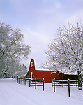 Vashon, WA      <br /> Newly fallen snow blankets a farm with red barn in winter