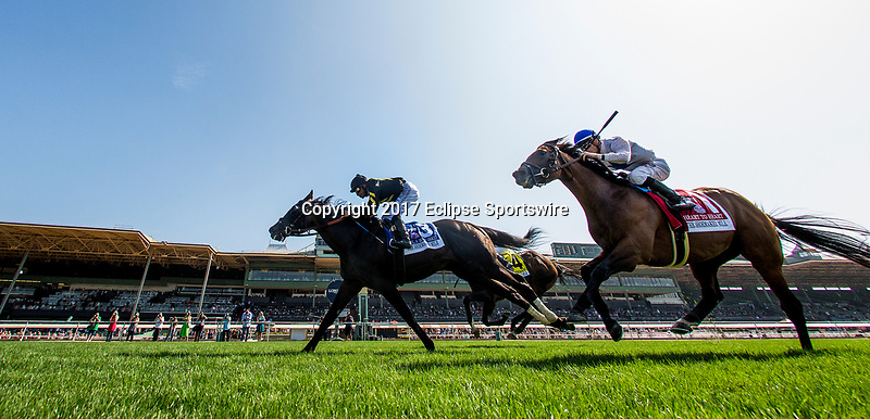 ARCADIA, CA - JUNE 03: Bal A Bali #3 with Mike Smith up defeats Heart to Heart #1 and Julien Leparoux to win the Shoemaker Mile Stakes at Santa Anita Park  on June 03, 2017 in Arcadia, California. (Photo by Alex Evers/Eclipse Sportswire/Getty Images)