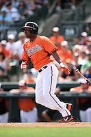 Baltimore Orioles outfielder Delmon Young (27) during a spring training game against the Pittsburgh Pirates on March 23, 2014 at Ed Smith Stadium in Sarasota, Florida.  Baltimore and Pittsburgh tied 7-7.  (Mike Janes/Four Seam Images)