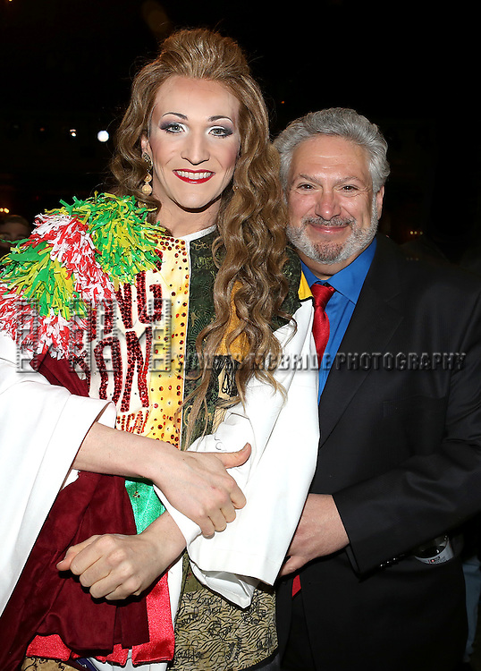 Charlie Sutton & Harvey Fierstein attending the Opening Night Gypsy Robe Ceremony honoring Charlie Sutton for 'Kinky Boots' at the Al Hirschfeld Theatre in New York City on 4/4/2013