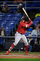 Portland Sea Dogs designated hitter Luke Tendler (10) at bat during a game against the Binghamton Rumble Ponies on August 31, 2018 at NYSEG Stadium in Binghamton, New York.  Portland defeated Binghamton 4-1.  (Mike Janes/Four Seam Images)