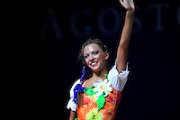 Melitina Staniouta of Belarus waves to fans after gala at 2010 Pesaro World Cup on August 29, 2010 at Pesaro, Italy.  Photo by Tom Theobald.