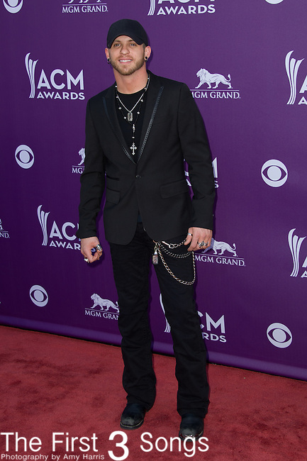 Brantley Gilbert attends the 48th Annual Academy of Country Music Awards in Las Vegas, Nevada on April 7, 2012.