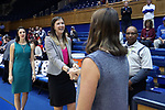 DURHAM, NC - NOVEMBER 26: Former UNC player, now Presbyterian assistant coach, Megan Buckland shakes hands with Duke head coach Joanne P. McCallie. The Duke University Blue Devils hosted the Presbyterian College Blue Hose on November 26, 2017 at Cameron Indoor Stadium in Durham, NC in a Division I women's college basketball game. Duke won the game 79-45.