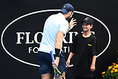 10th January 2018, ASB Tennis Centre, Auckland, New Zealand; ASB Classic, ATP Mens Tennis;  Jack Sock (USA) chats with a ball kid during the ASB Classic ATP Men's Tournament Day 3