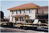 Alamosa station with tank cars on flat cars.<br /> C&amp;TS  Alamosa, CO