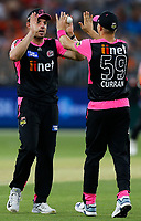 26th December 2019; Optus Stadium, Perth, Western Australia, Australia;  Big Bash League Cricket, Perth Scorchers versus Sydney Sixers; Moises Henriques of the Sydney Sixers congratulates Tom Curran after he took the catch to end the Scorchers innings - Editorial Use