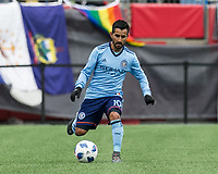 Foxborough, Massachusetts - March 24, 2018: In a Major League Soccer (MLS) match, New England Revolution (blue/white) tied New York City FC (NYCFC) (light blue/blue), 2-2, at Gillette Stadium.