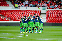 NOTTINGHAM, ENGLAND - JULY 25:  Swansea City huddle prior to the pre season friendly match between Nottingham Forest and Swansea City at The City Ground on July 25, 2015 in Nottingham, England.  (Photo by Aled Llywelyn / Athena Pictures )