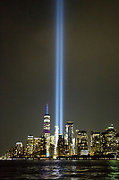 "NEW YORK, NY - SEPTEMBER 11: The ""Tribute to Light '' rises to the sky on the 18th anniversary of the terrorist attacks of September 11, September 11, 2019 in New York City.On September 11, 2019, in New York. Throughout the country there were changes to remember the 2,977 people who were killed. (Photo by Pablo Monsalve / VIEWpress)"