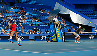 3rd January 2020; RAC Arena, Perth, Western Australia; ATP Cup Australia, Perth, Day 1,; USA v Norway Casper Ruud of Norway serves during the doubles against the USA - Editorial Use