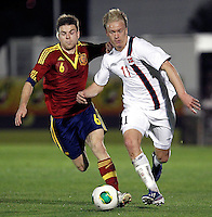 Spain's Illarramendi and Norway's Nielsen during an International sub21 match. March 21, 2013.(ALTERPHOTOS/Alconada) /NortePhoto