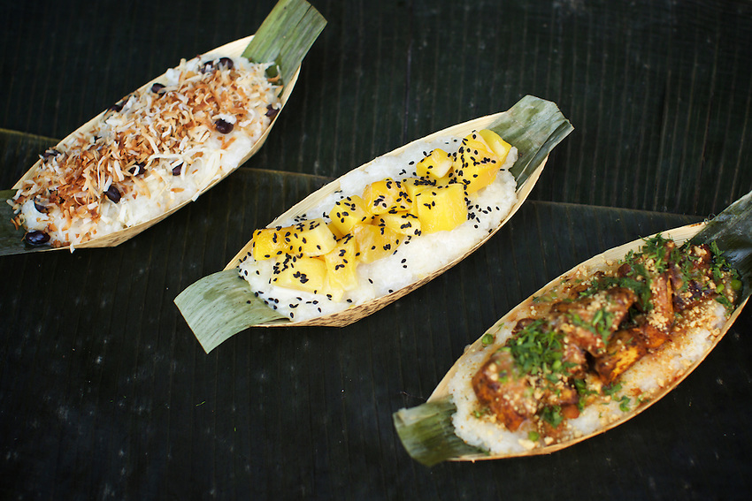 New York, NY - August 17, 2016: Coconut, Mango and Tofu sticky rice boats by Vendy Awards Best Vegan nominee Bamboo Bites.<br /> <br /> CREDIT: Clay Williams for Gothamist.<br /> <br /> &copy; Clay Williams / claywilliamsphoto.com