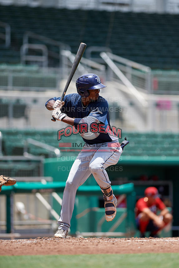 GCL Rays center fielder Aldenis Sanchez (9) at bat during a game against the GCL Red Sox on August 1, 2018 at JetBlue Park in Fort Myers, Florida.  GCL Red Sox defeated GCL Rays 5-1 in a rain shortened game.  (Mike Janes/Four Seam Images)