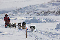 Musher Lance Mackey just outside Candle, the half way point of the 2008 All Alaska Sweepstakes sled dog race.