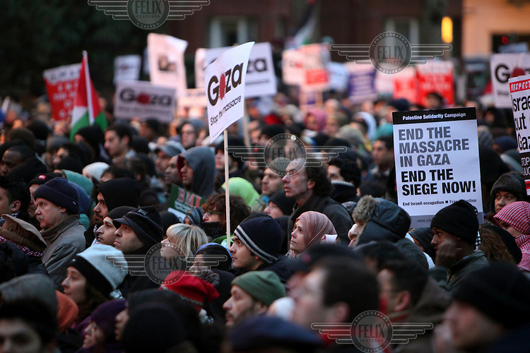 Protesters in London's Hyde Park demonstrate against the Israeli attacks on the Gaza Strip that began at the end of 2008.