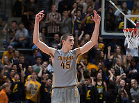 David Kravish of California celebrates during the game against Arizona State at Haas Pavilion in Berkeley, California on January 29th, 2014.   Arizona State defeated California, 89-78.