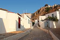 Narrow streets & houses of Hydra,  Greek Saronic Islands.
