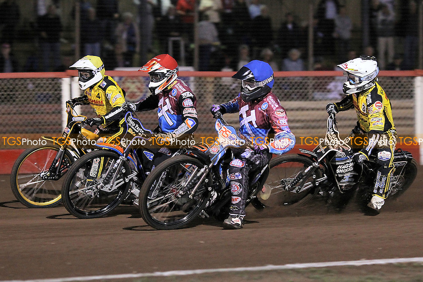 Heat 3: Peter Karlsson (red), Stuart Robson (blue), Edward Kennett (white) and Kenni Larsen - Lakeside Hammers vs Coventry Bees - Sky Sports Elite League Speedway at Arena Essex Raceway, Purfleet - 10/09/12 - MANDATORY CREDIT: Gavin Ellis/TGSPHOTO - Self billing applies where appropriate - 0845 094 6026 - contact@tgsphoto.co.uk - NO UNPAID USE.