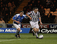 John McGinn gets away from Tom Scobbie in the St Mirren v St Johnstone Clydesdale Bank Scottish Premier League match played at St Mirren Park, Paisley on 8.12.12.