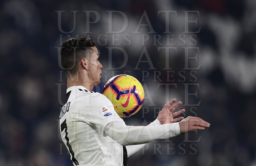 Calcio, Serie A: Juventus - Chievo Verona, Turin, Allianz Stadium, January 21, 2019.<br /> Juventus' Cristiano Ronaldo in action during the Italian Serie A football match between Juventus and Chievo Verona at Torino's Allianz stadium, January 21, 2019.<br /> UPDATE IMAGES PRESS/Isabella Bonotto