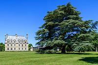 France, Loir-et-Cher (41), Cellettes, Château de Beauregard, aîle sud-est et cèdre bicentenaire