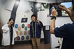 Tokyo Olympics 2020 Showroom September 14, 2017: Staffs pose for a picture in a shop in Harajuku, in Tokyo on September 14, 2017. A Tokyo Olympics 2020 showroom open for short term in the fashionable area of Harajuku, in Tokyo. (Photo by Nicolas Datiche/AFLO) (JAPAN)