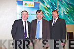 KERRY IFA: The candidates for the Kerry IFA chairmanship at the Manor West hotel, Tralee on Monday l-r: Kenny Jones, Tralee, Sean Brosnan, Castleisland and Patrick O'Driscoll, Valentia.