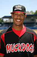 June 16, 2009:  LaCurtis Mayes of the Batavia Muckdogs poses for a head shot before the teams practice at Dwyer Stadium in Batavia, NY.  The Batavia Muckdogs are the NY-Penn League Single-A affiliate of the St. Louis Cardinals.  Photo by:  Mike Janes/Four Seam Images