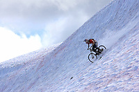 Arran Gannicot.High Alpine snow biking..Whistler , Canada , July 2007..pic copyright Steve Behr / Stockfile