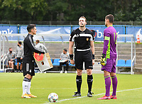 both team captains with German Paul Nebel and Belgian Nick Shinton pictured with referee Tom Stevens during a friendly soccer game between the national teams Under19 Youth teams of Belgium and Germany on tuesday 8 th of September 2020  in Genk , Belgium . PHOTO SPORTPIX.BE | SPP | DAVID CATRY