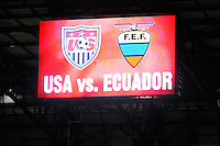 Sign. The men's national team of the United States (USA) was defeated by Ecuador (ECU) 1-0 during an international friendly at Red Bull Arena in Harrison, NJ, on October 11, 2011.
