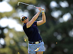 Morgan Pressel hits her approach shot on the 17th hole during the third round of the LPGA Safeway Classic golf tournament in Portland, Ore., Saturday, Aug. 31, 2013. (AP Photo/Steve Dykes)