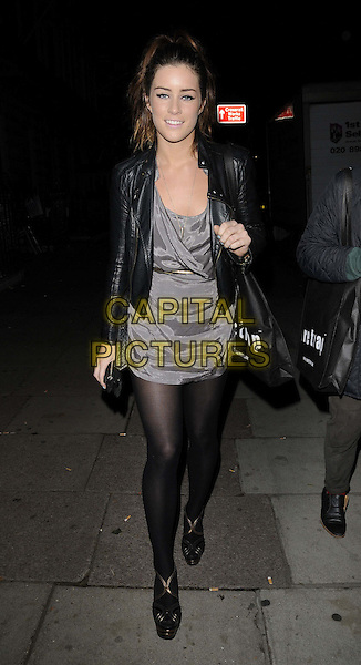"Lucie Jones.The ""Firetrap By Sunday Girl"" debut collection launch party, 33 Portland Place, Portland Place, London, England..October 19th, 2011.full length black tights grey gray dress leather jacket.CAP/CAN.©Can Nguyen/Capital Pictures."